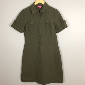 BCBGirls Army Green Shirt Dress Size S  A60